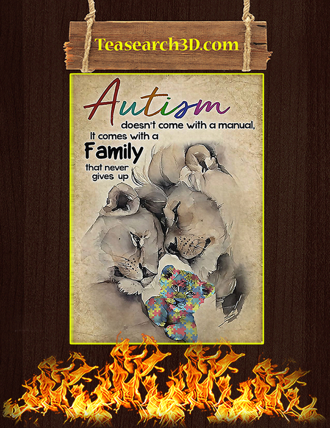 Lion Autism doen't come with a manual it comes with a family poster A2