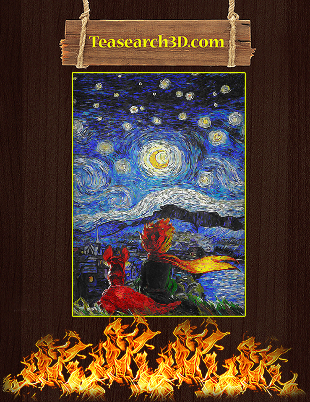 Little prince and fox starry night van gogh poster A2
