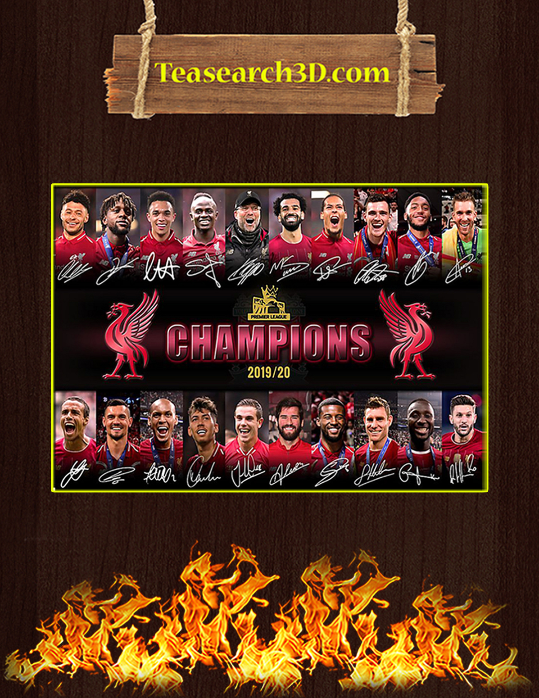 Liverpool premier league champions signature poster A2
