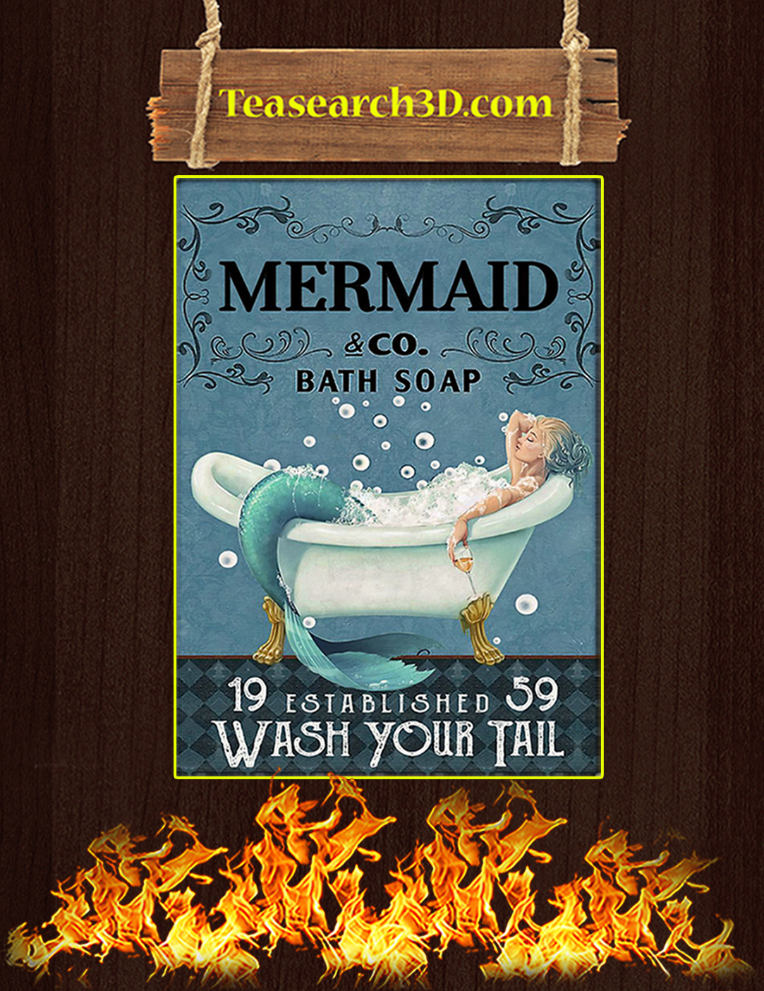 Mermaid co bath soap wash your tail poster A2