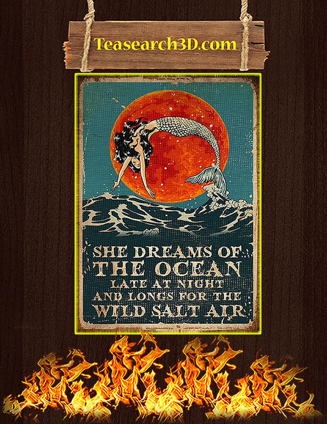 Mermaid she dreams of the ocean poster A2
