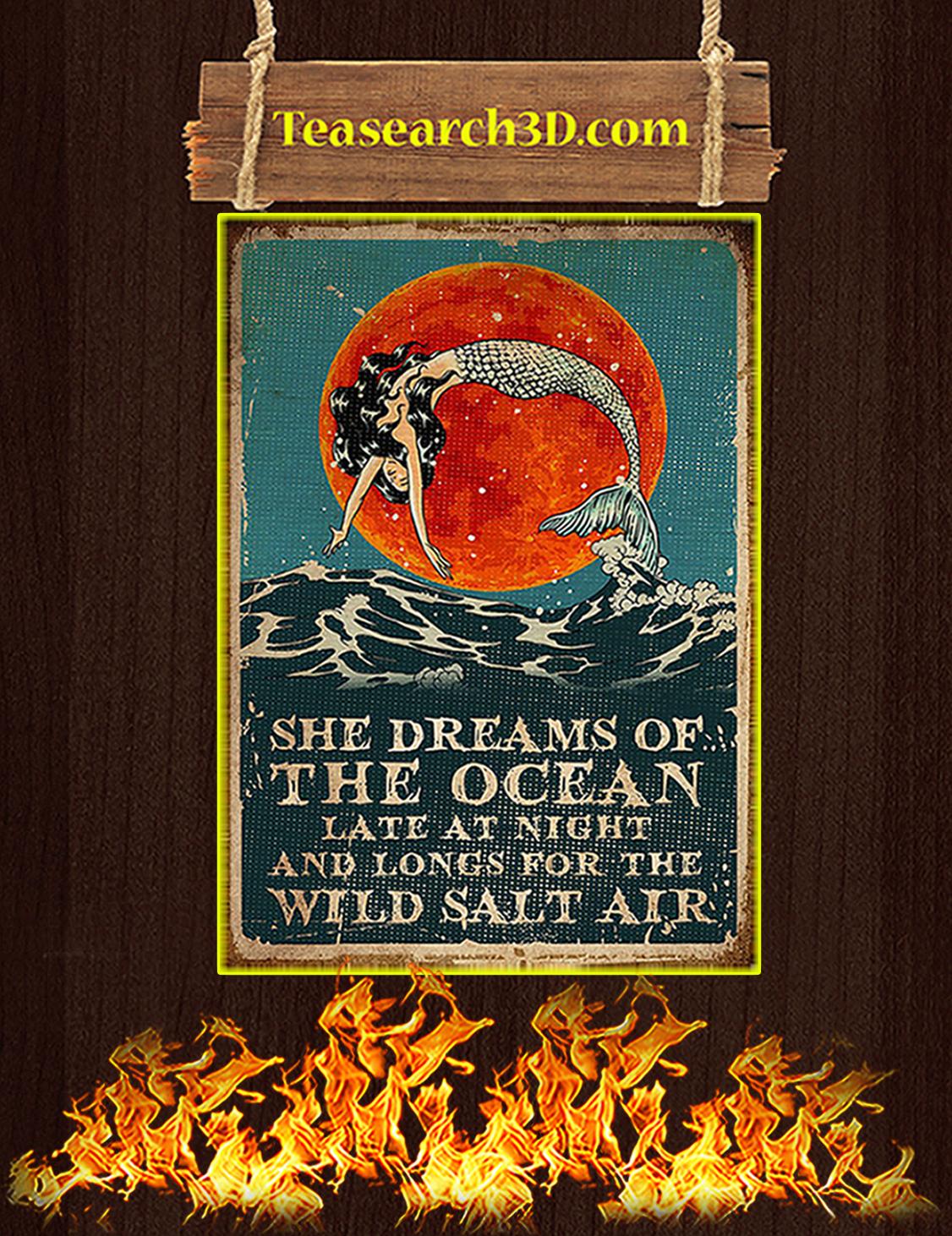 Mermaid she dreams of the ocean poster A3
