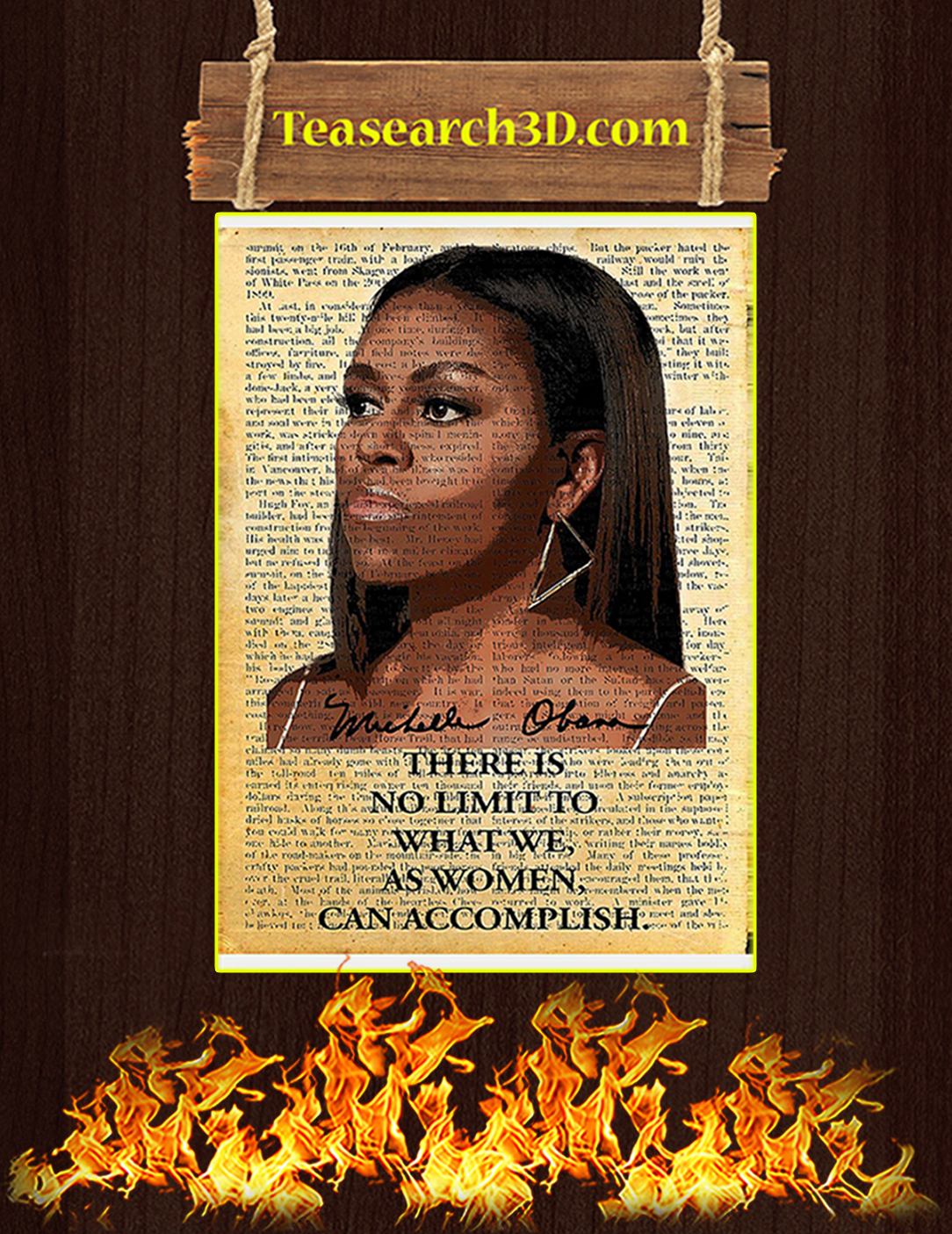 Michelle Obama there is no limit to what we as women can accomplish poster A2