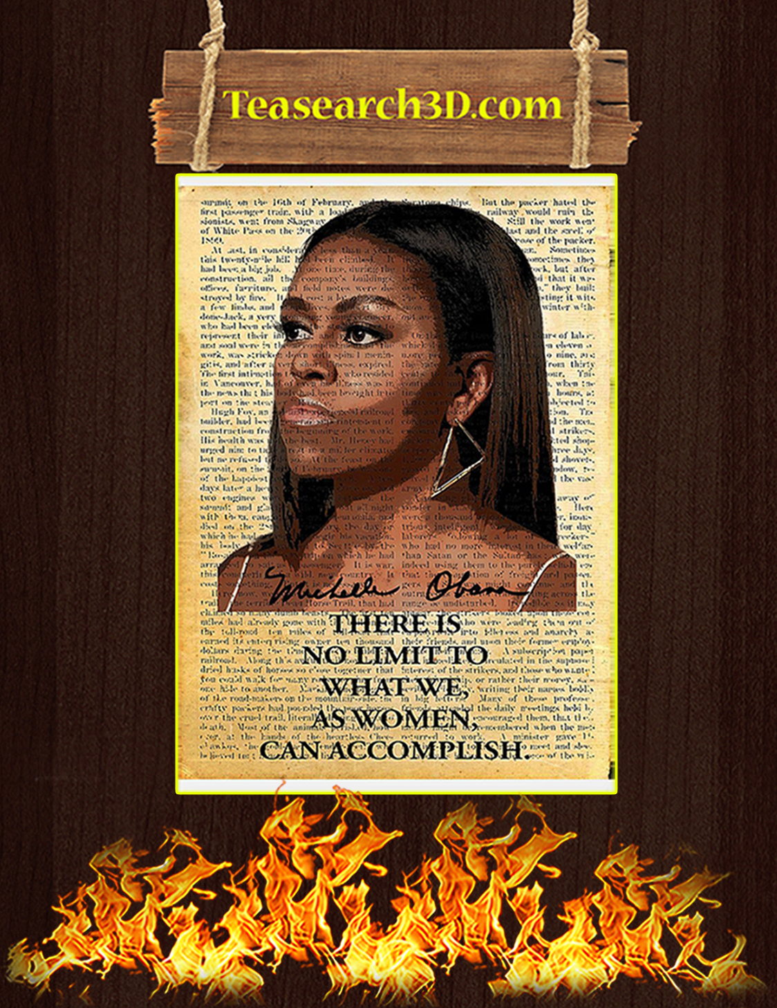 Michelle Obama there is no limit to what we as women can accomplish poster A3