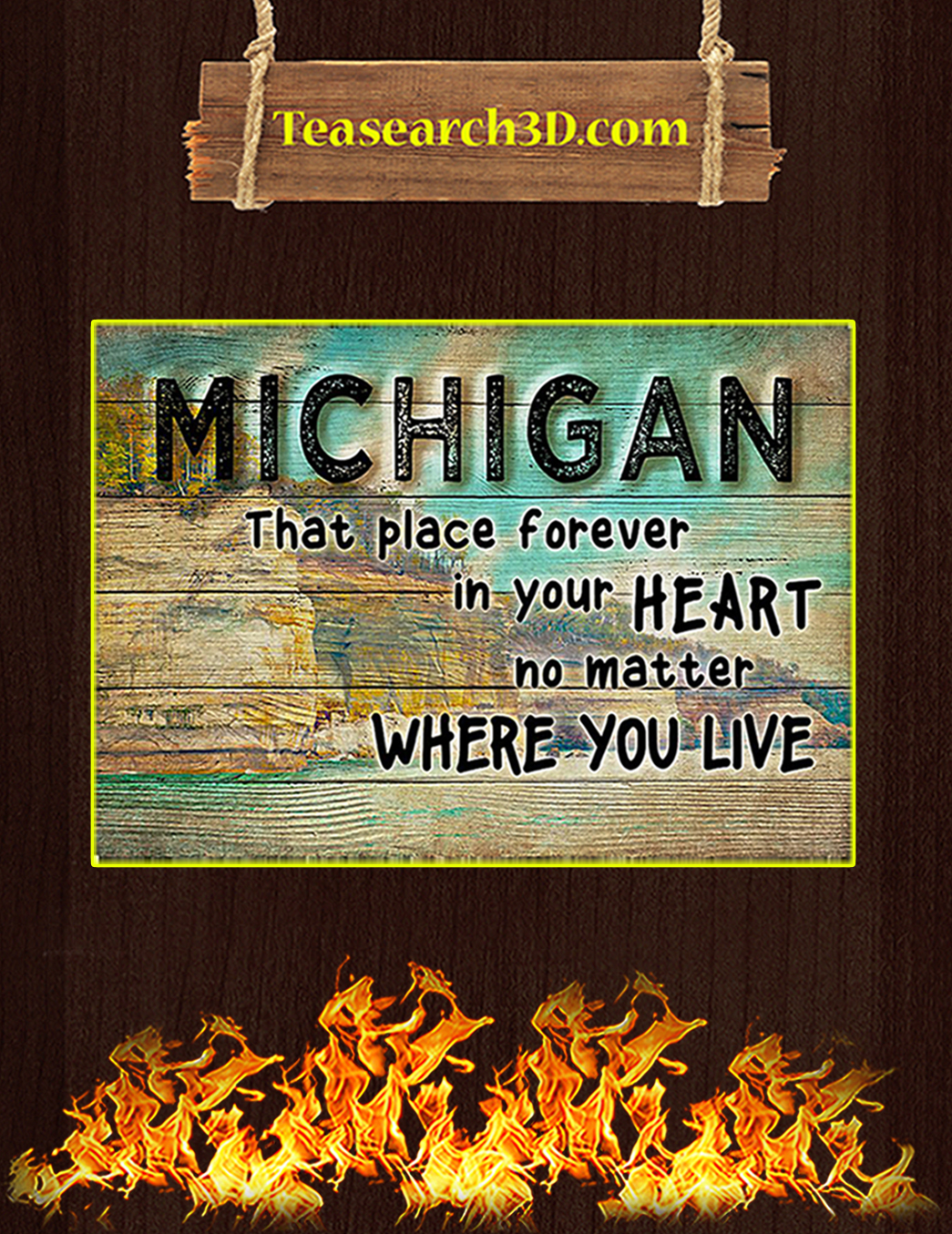 Michigan that place forever in your heart poster A1