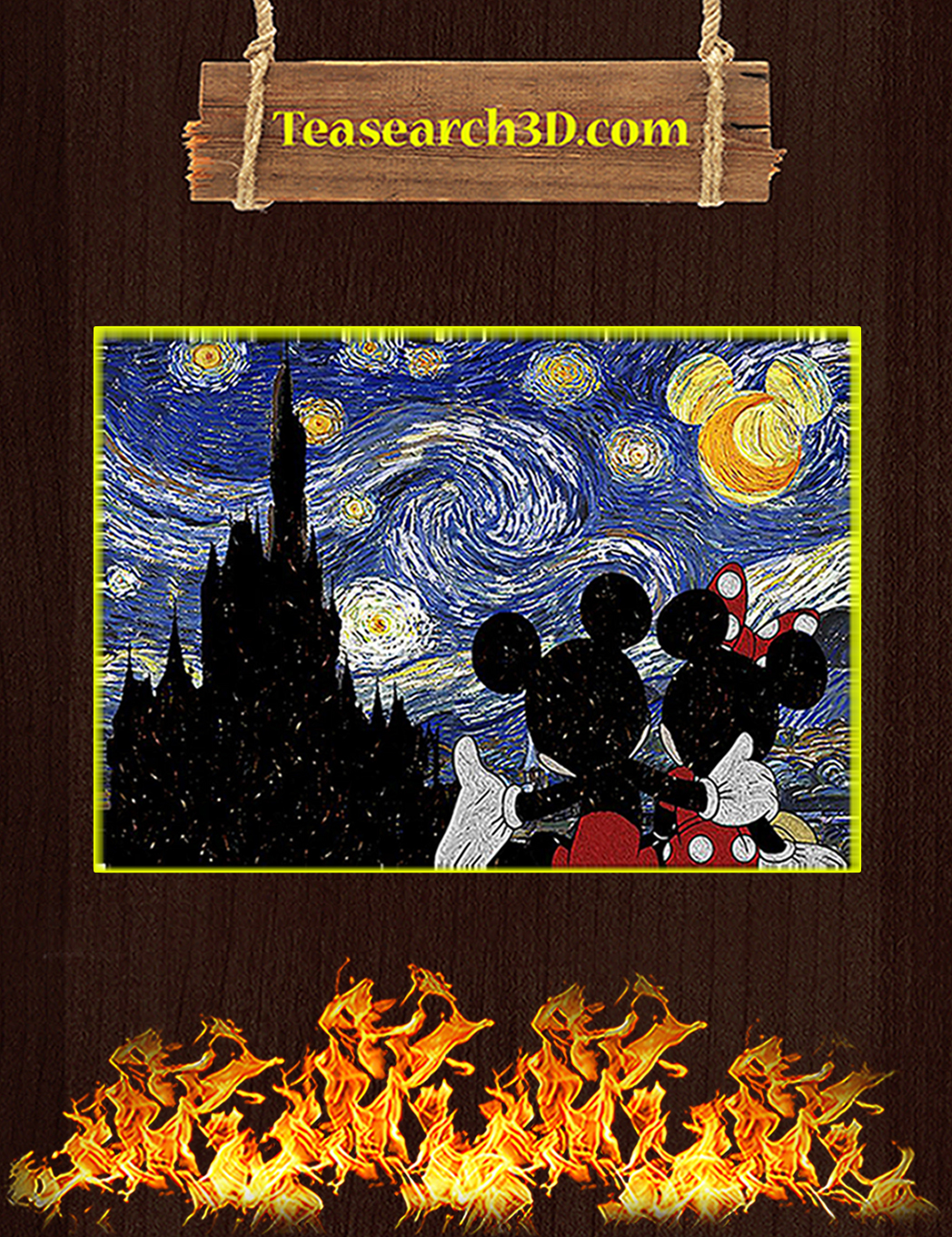 Mickey and minnie starry night poster A1