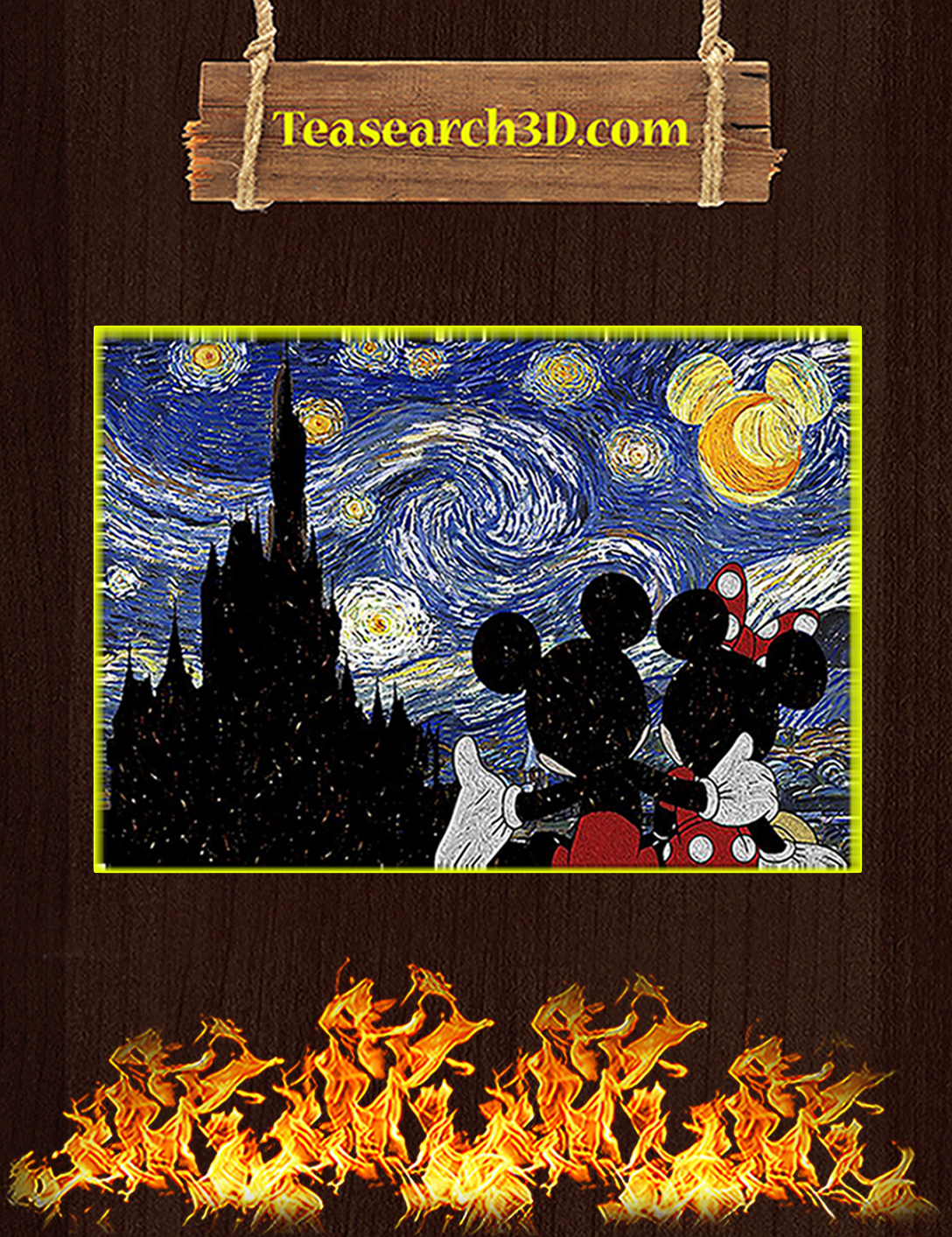 Mickey and minnie starry night poster A2