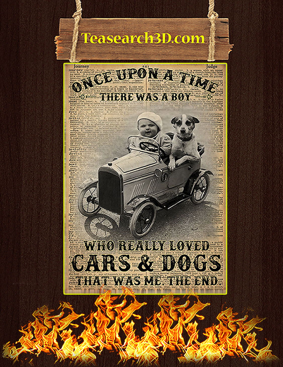 Once upon a time there was a boy who really loved cars and dogs poster A3
