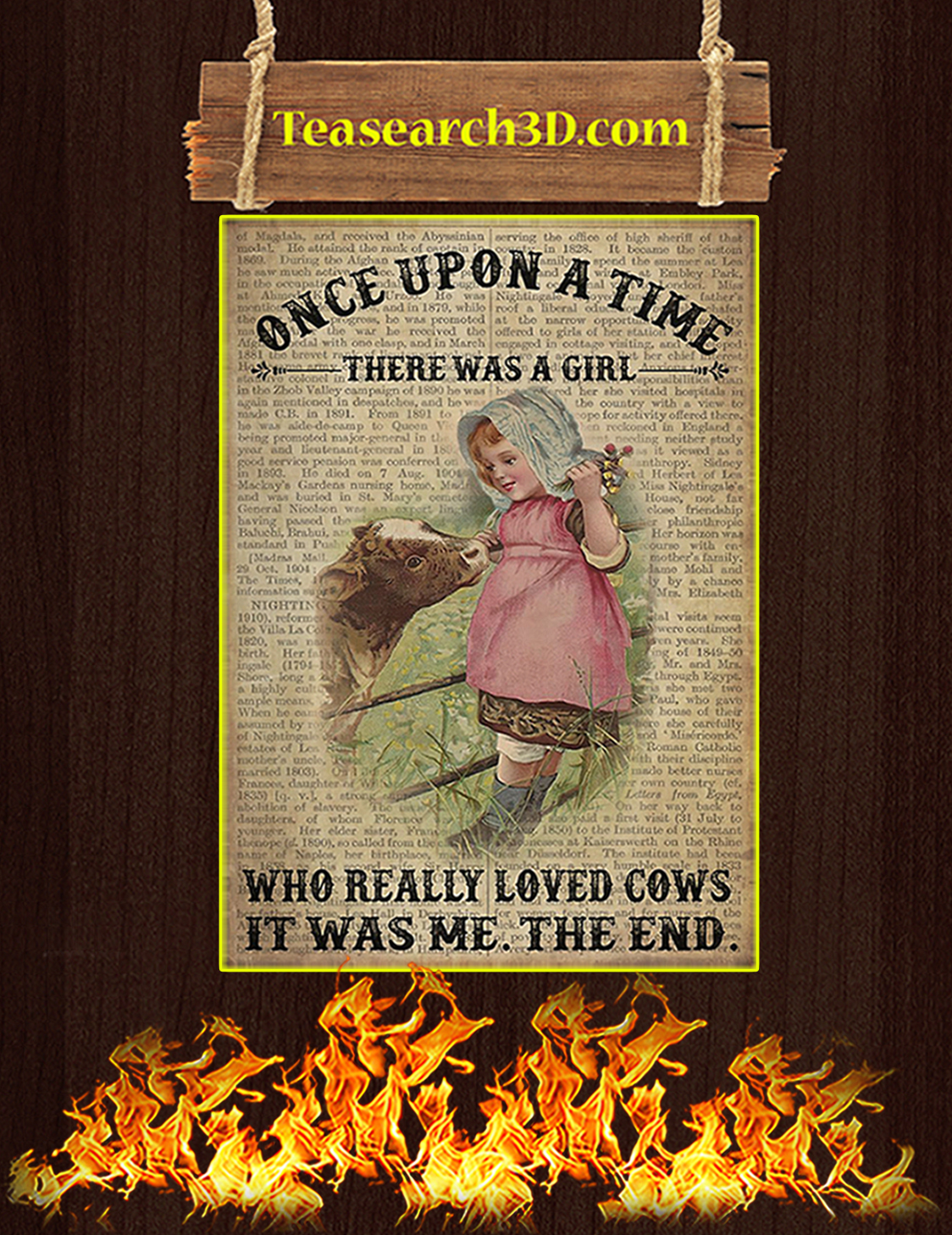 Once upon a time there was a girl who really loved cows poster A3