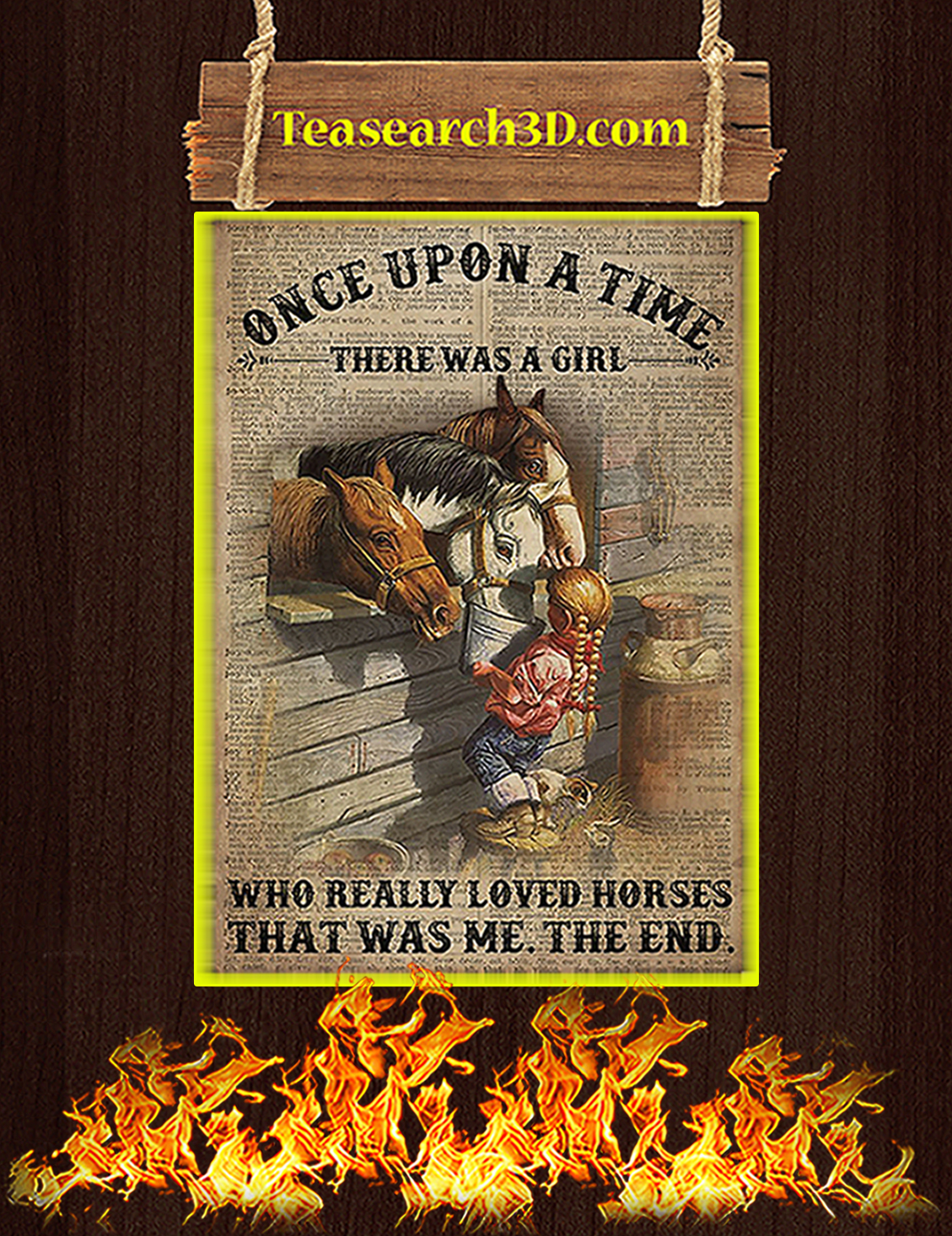 Once upon a time there was a girl who really loved horses poster A3