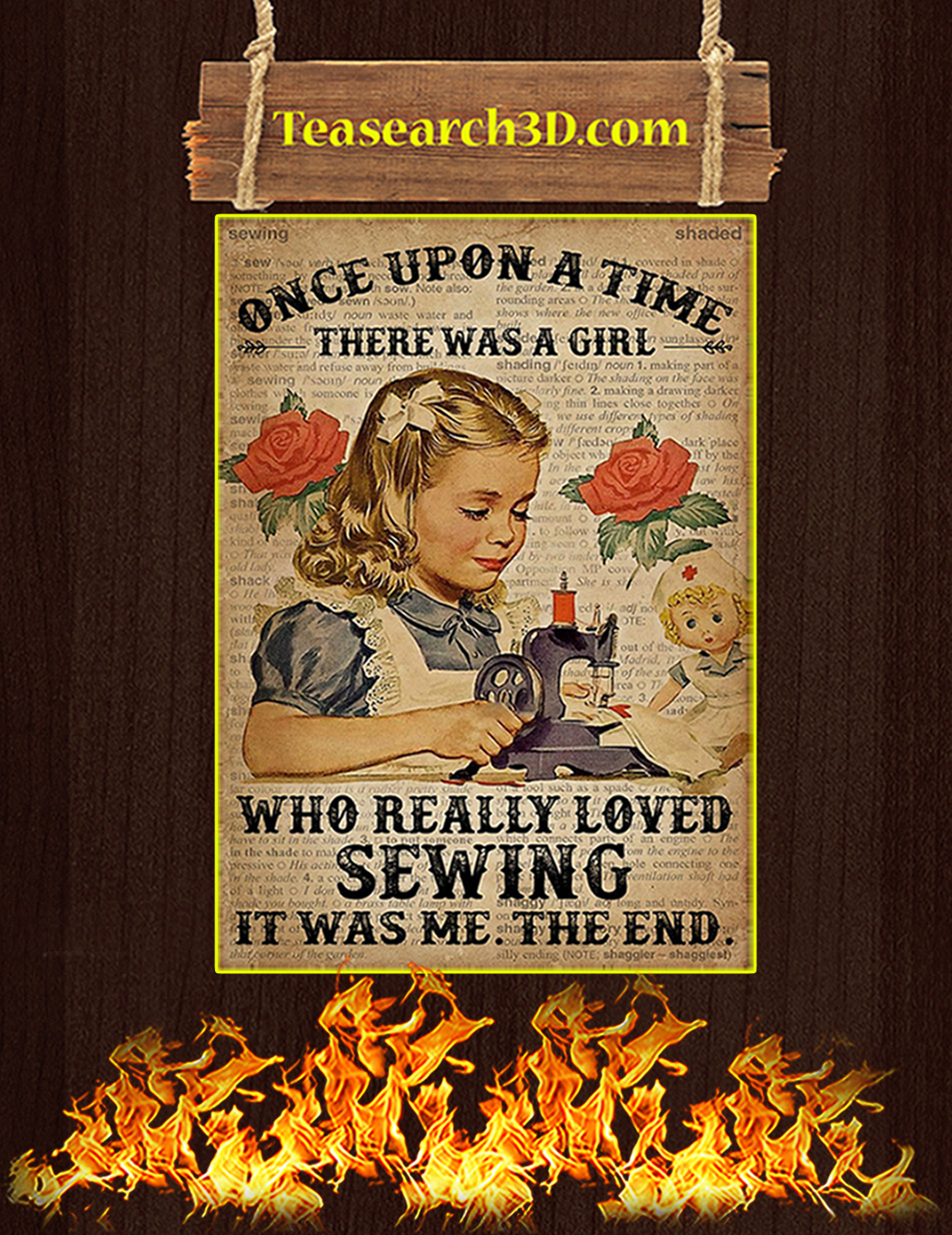 Once upon a time there was a girl who really loved sewing poster A3