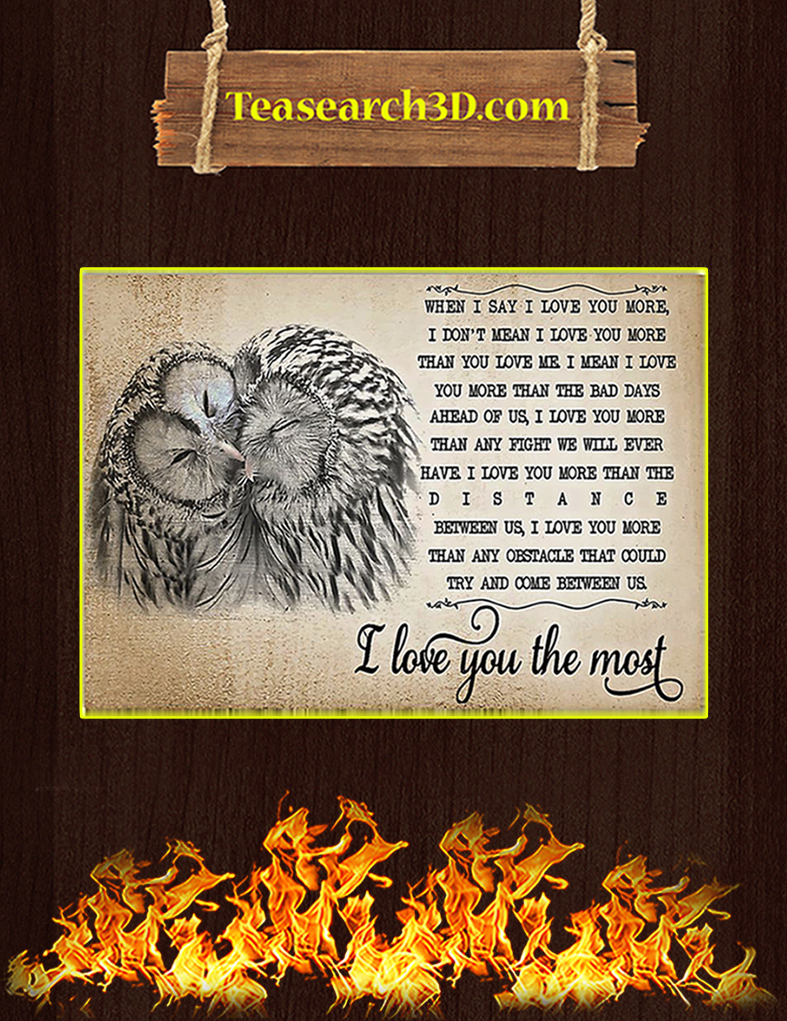 Owl I love you the most poster A3
