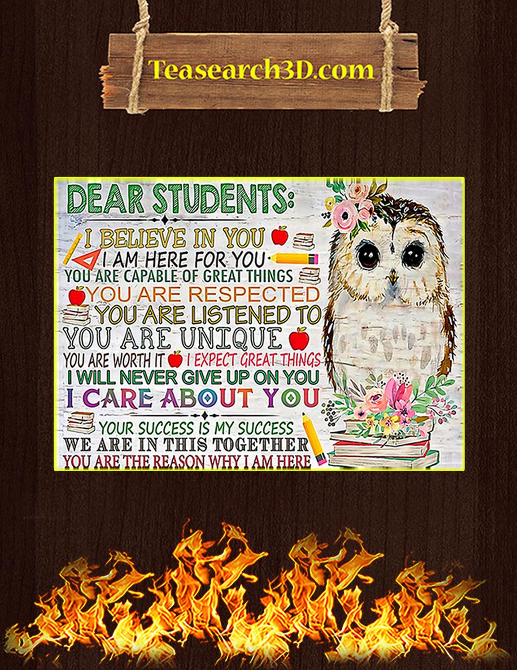 Owl teacher dear studens I believe in you poster A1