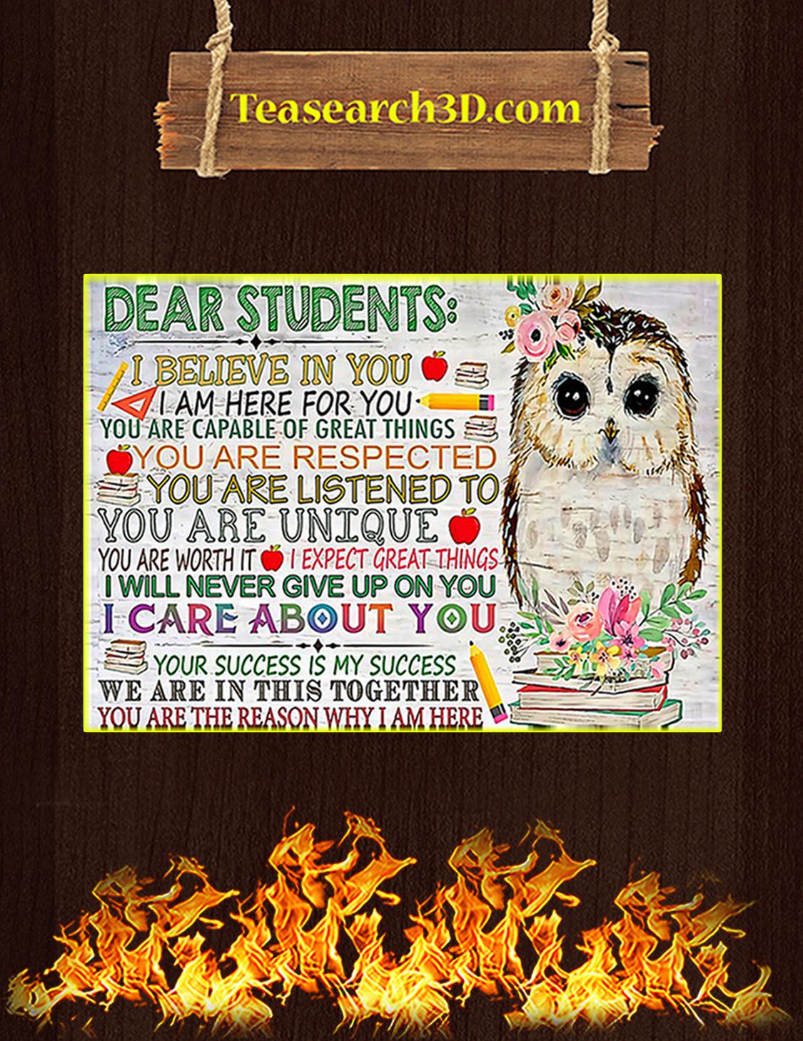 Owl teacher dear studens I believe in you poster A3