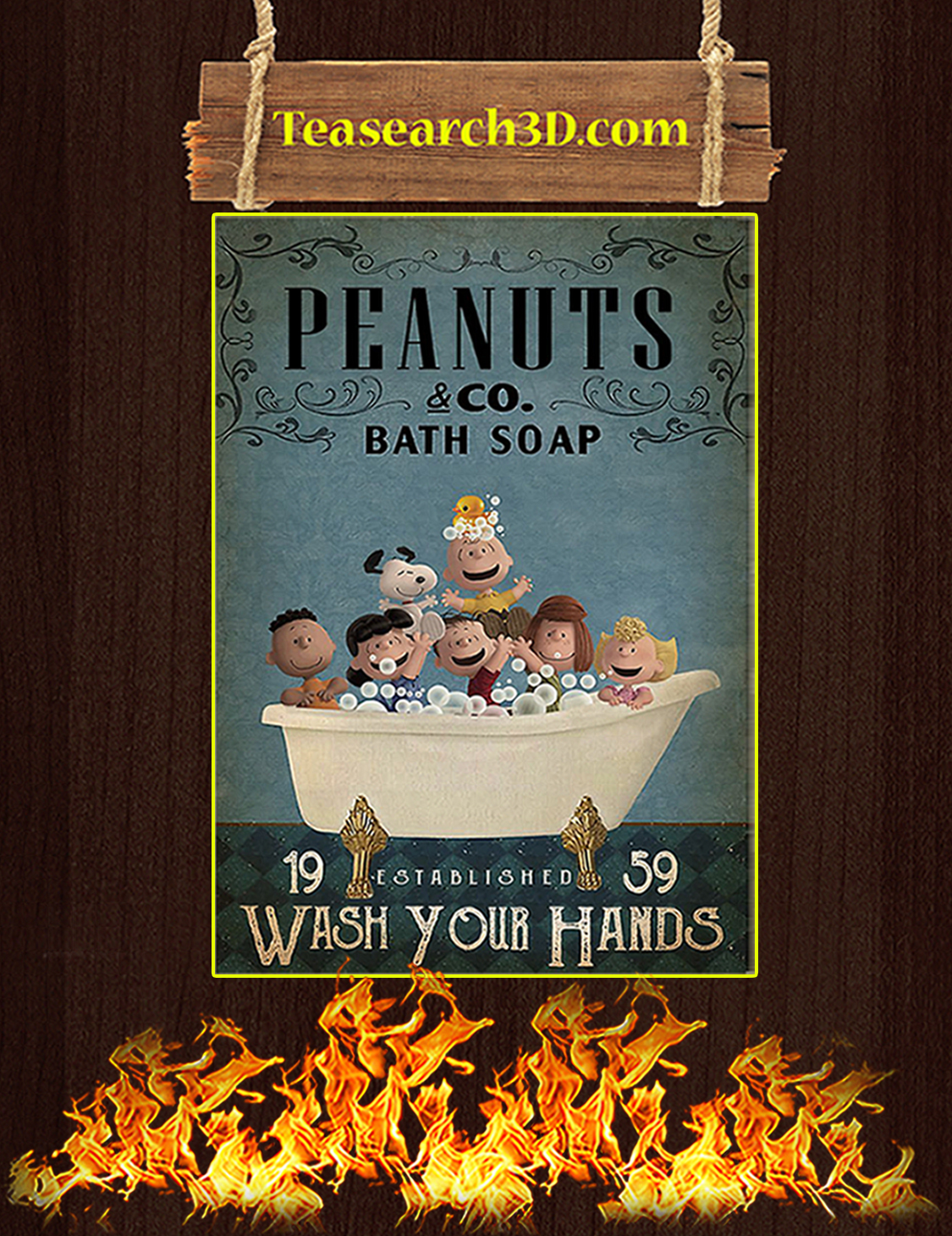 Peanuts co bath soap wash your hands poster A3