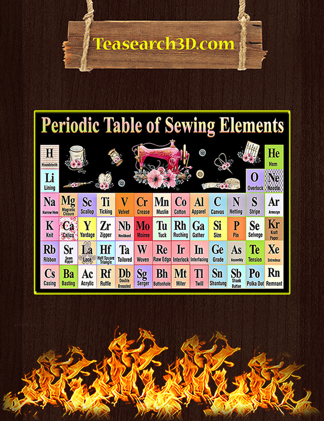 Periodic table of sewing elements poster A3