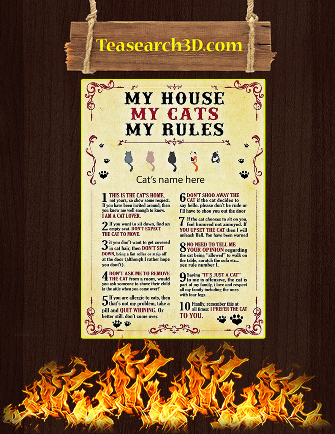 Personalized My house my cats my rules poster A3