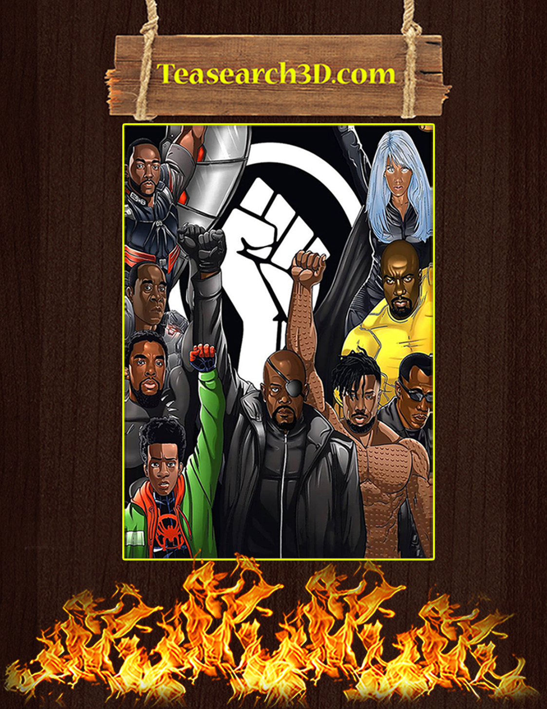 Raised fist black superheroes nick fury miles morales black panther erik killmonger poster A3