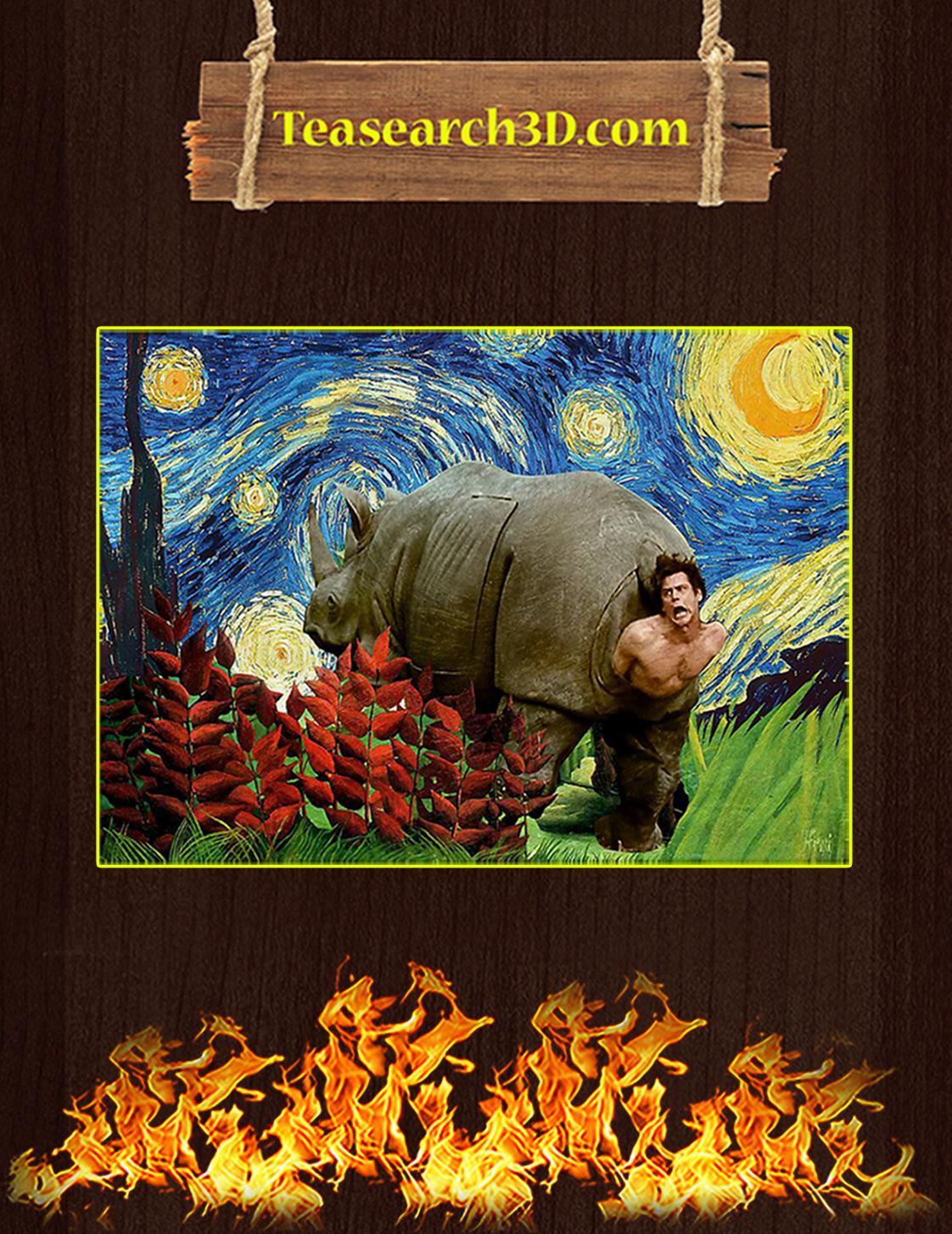 Rhino scene ace ventura starry night poster A3