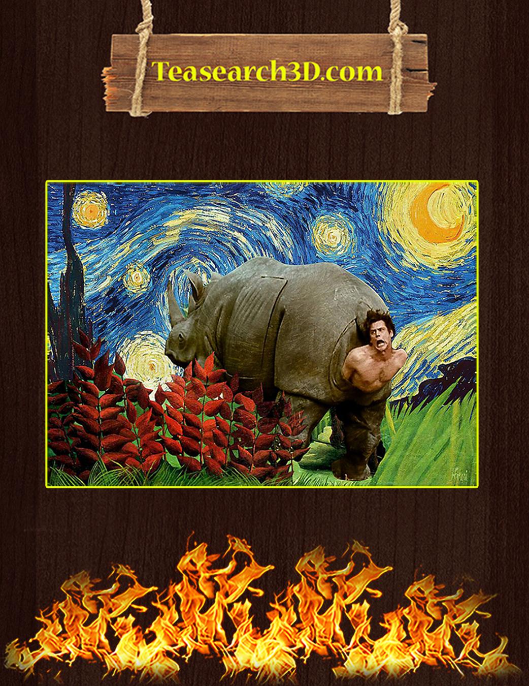 Rhino scene ace ventura starry night van gogh poster A1