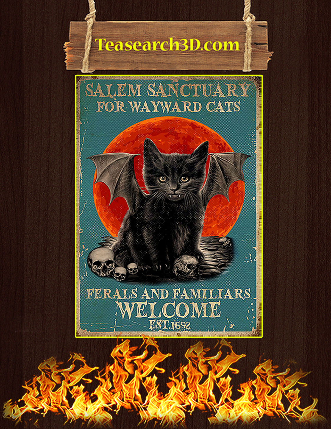 Salem sanctuary for wayward cats ferals and familiars welcome est 1962 poster A3