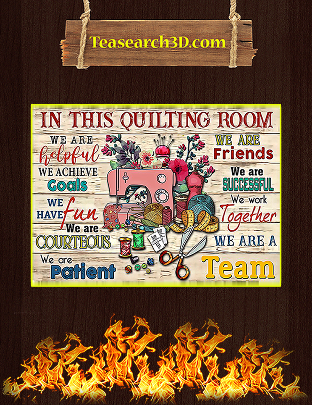 Sewing in this quilting room we are helpful poster A1