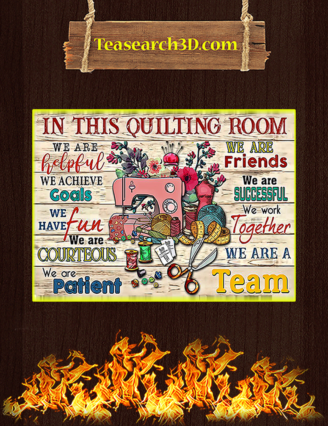 Sewing in this quilting room we are helpful poster A3