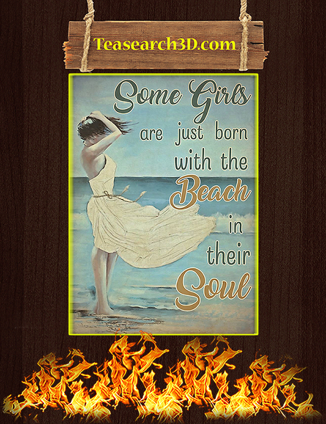Some girls are just born with the beach in their soul poster A1