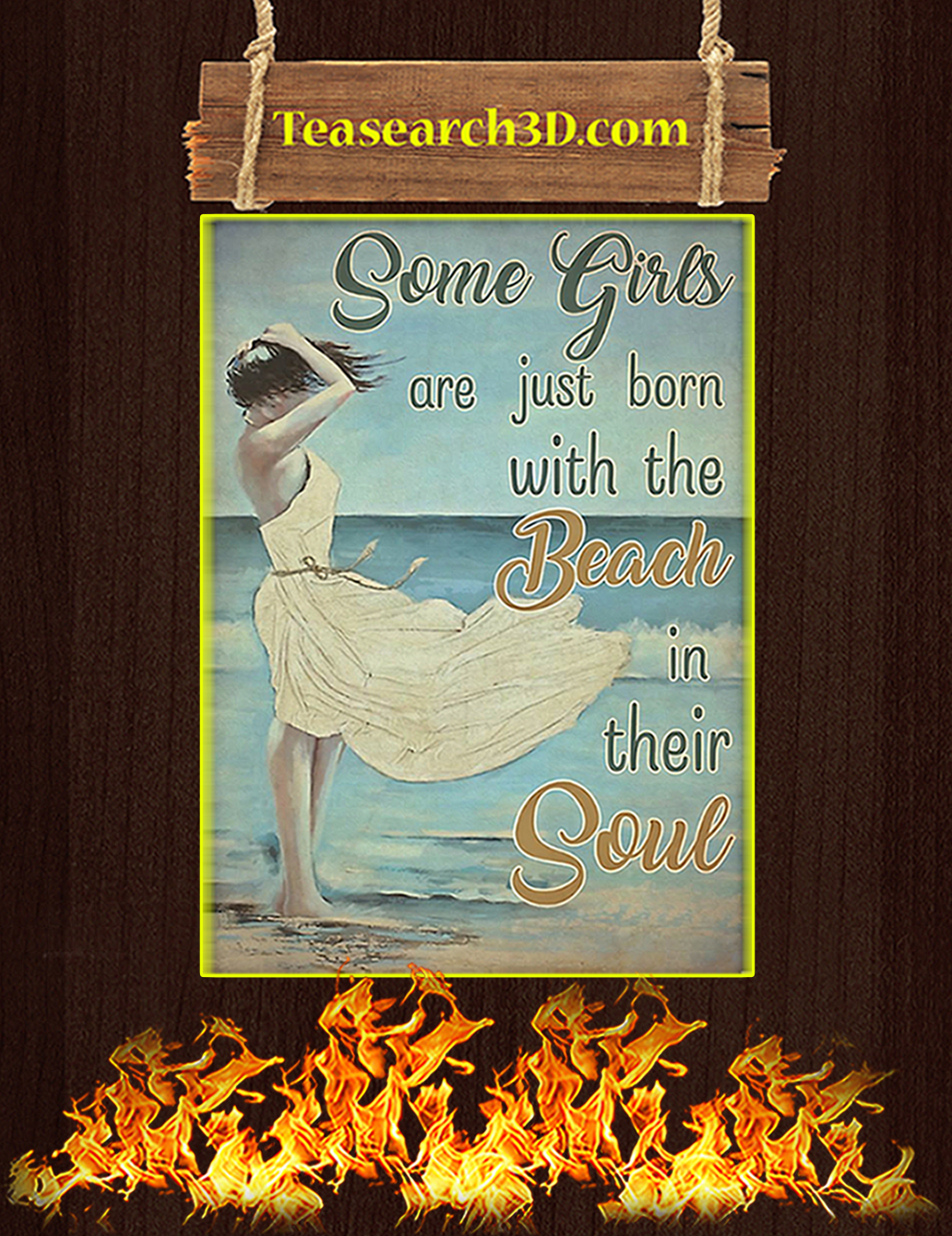 Some girls are just born with the beach in their soul poster A2
