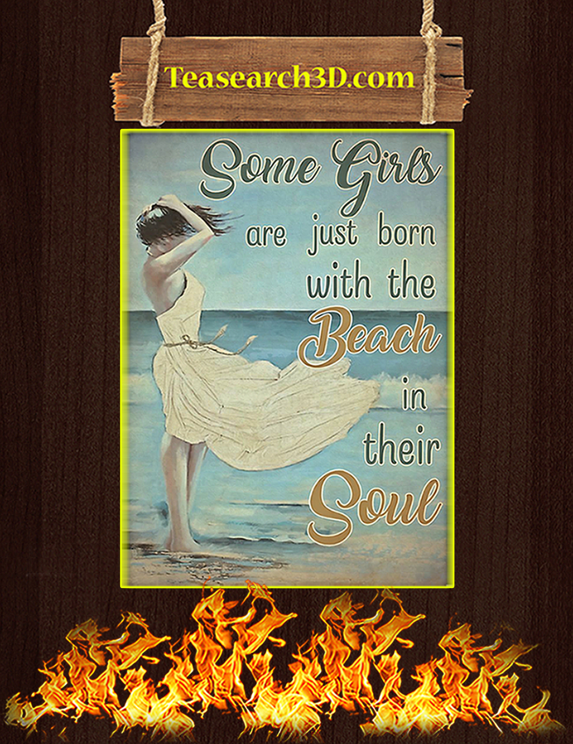 Some girls are just born with the beach in their soul poster A3
