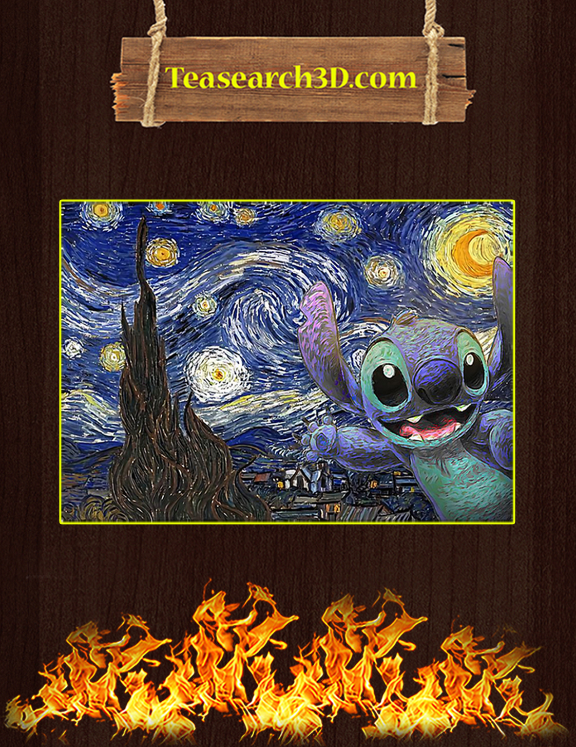 Stitch starry night poster A3