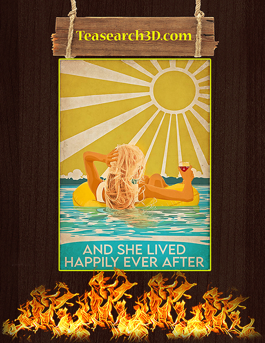 Swimming blonde and she lived happily ever after poster A3