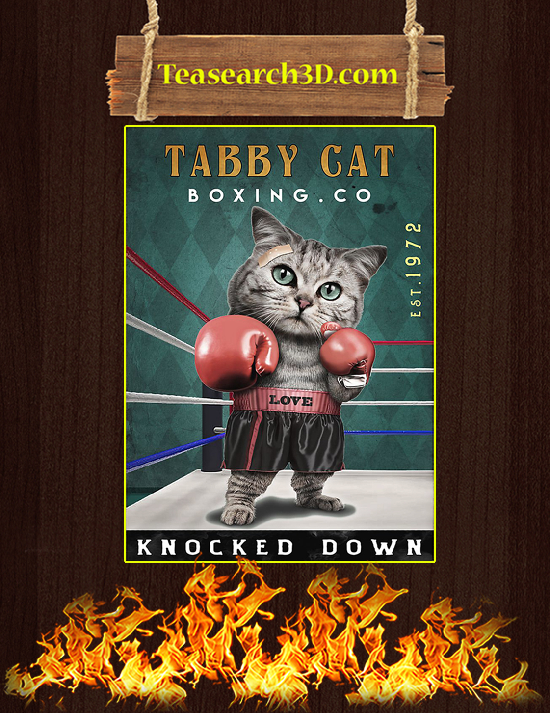 Tabby cat boxing co knocked down poster A3