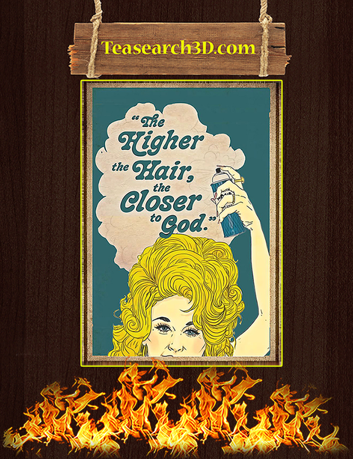 The higher the hair the closer the god poster A3