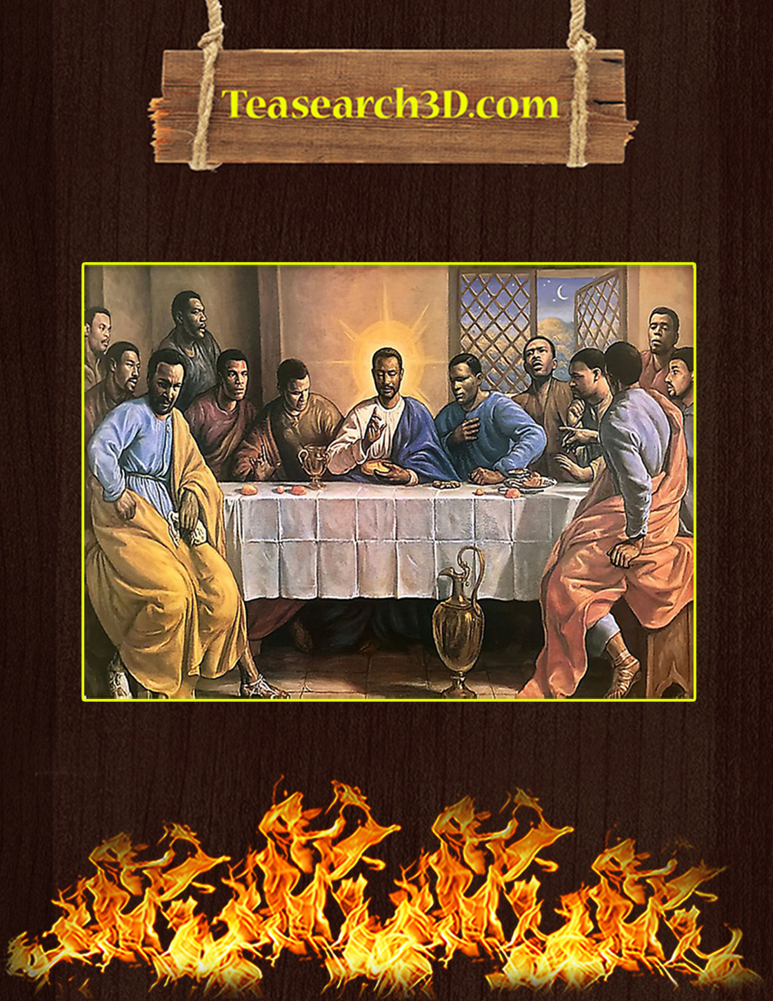 The last supper black jesus poster A3