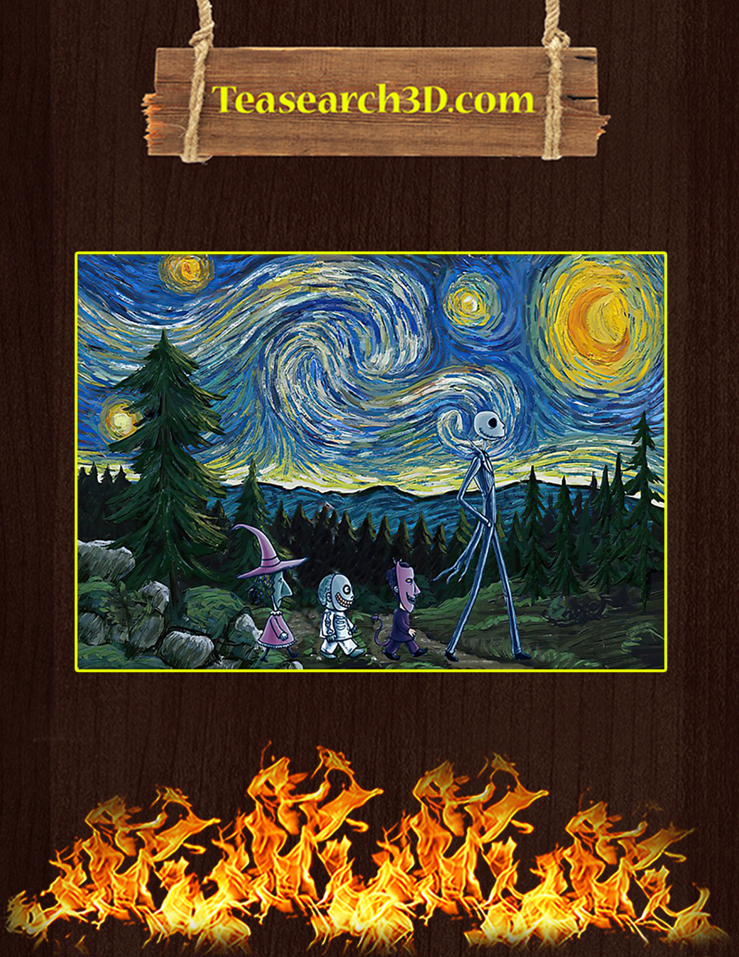 The nightmare before christmas starry night van gogh poster A1