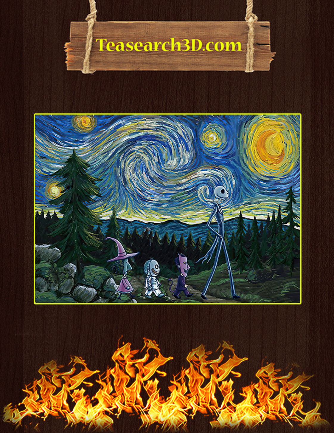 The nightmare before christmas starry night van gogh poster A3