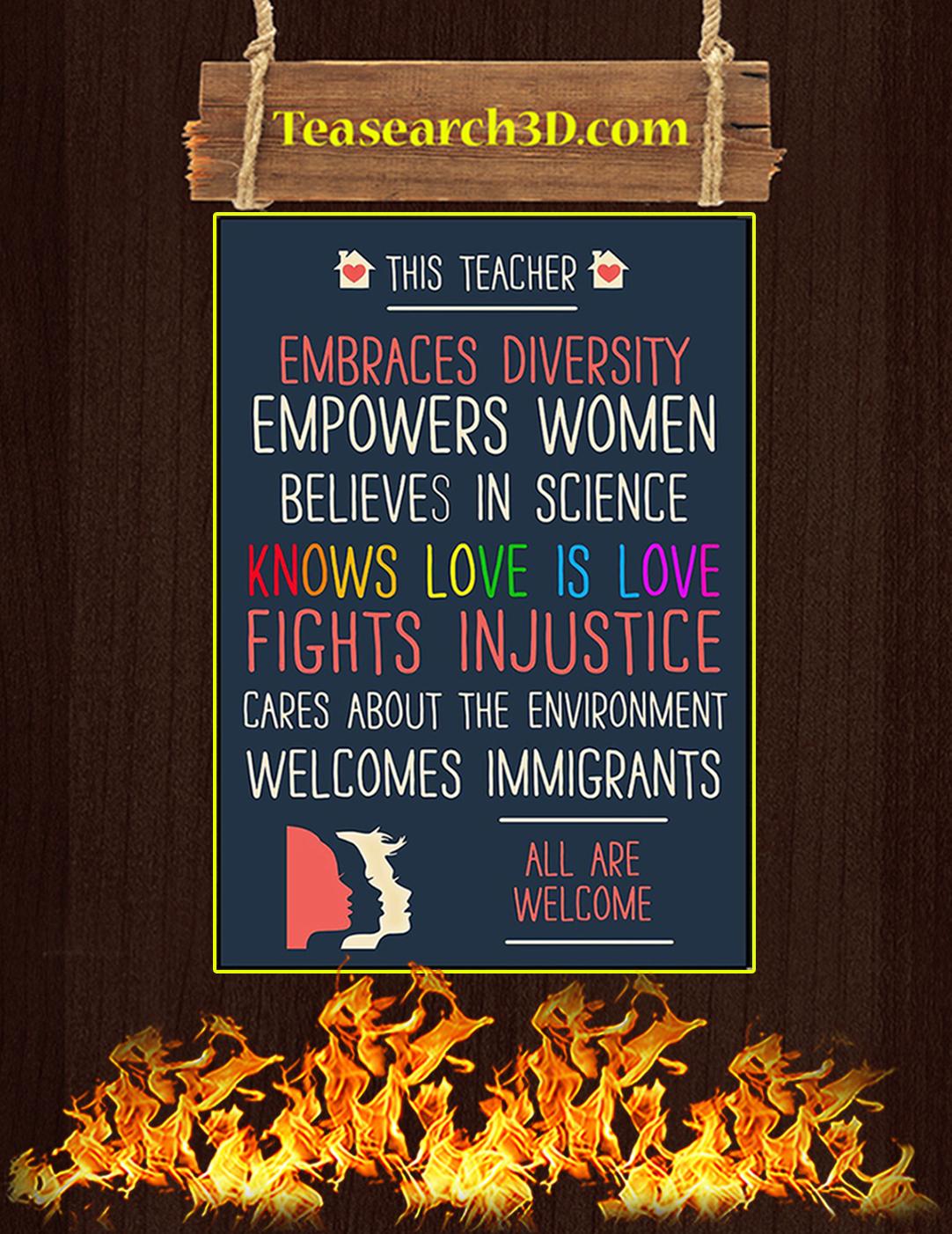 This teacher embraces diversity empowers women poster A2