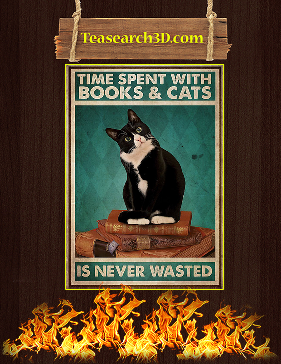Time spent with books and cats is never wasted poster A3