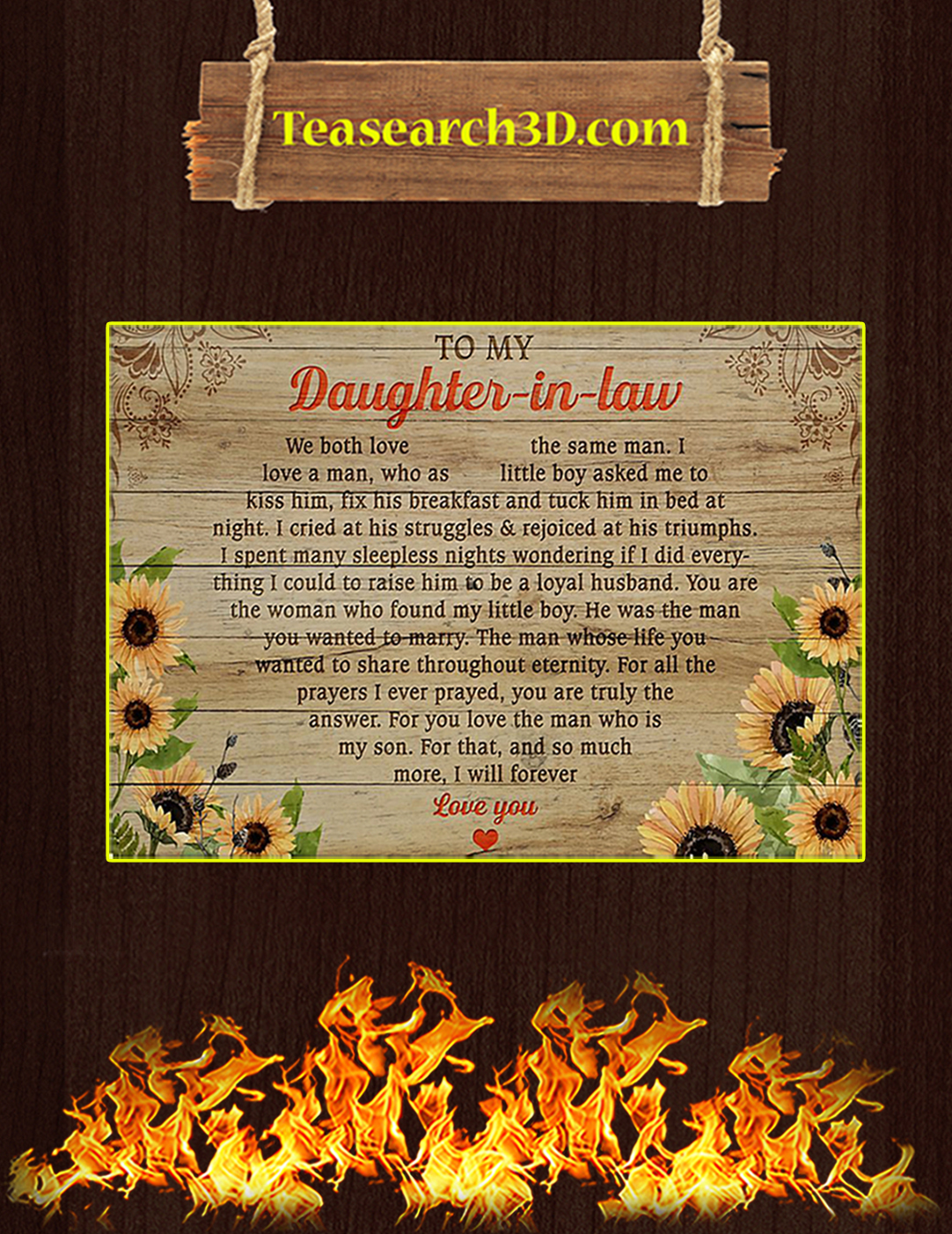 To my daughter in law sunflower poster A2