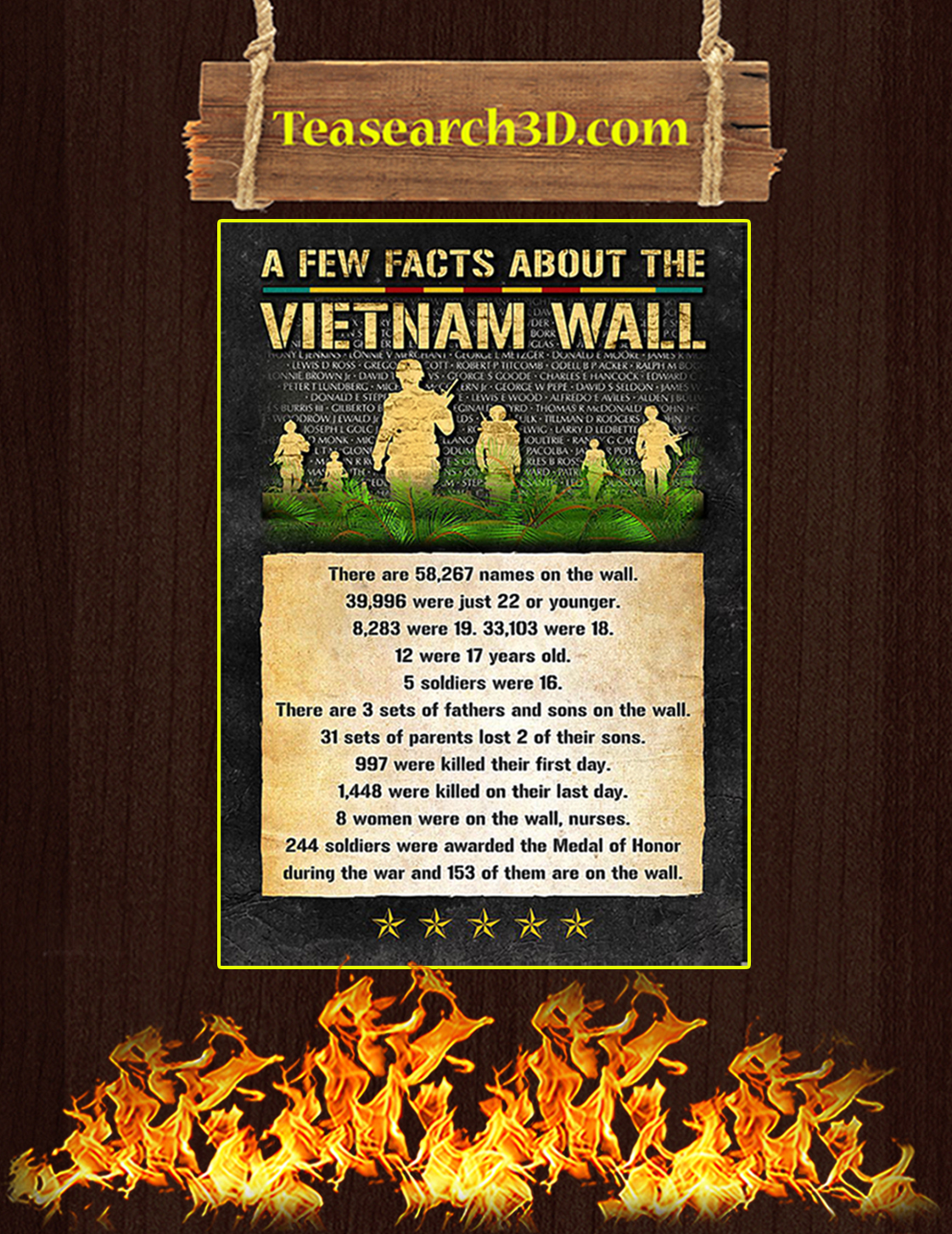 Veteran few facts about the vietnam wall poster A3