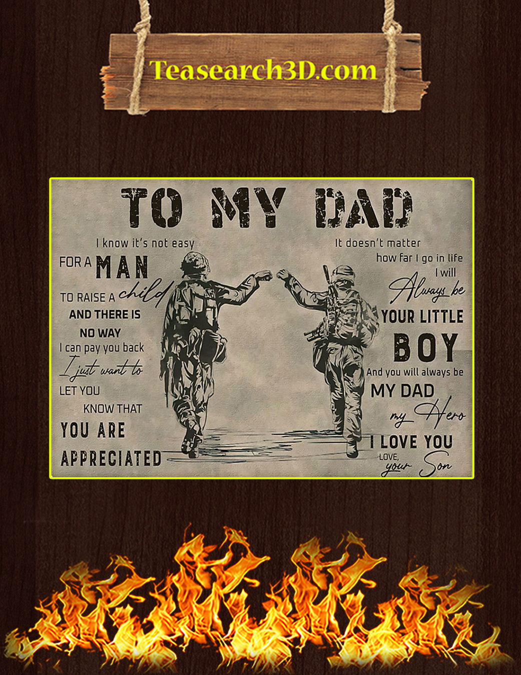 Veteran to my dad your son poster A1