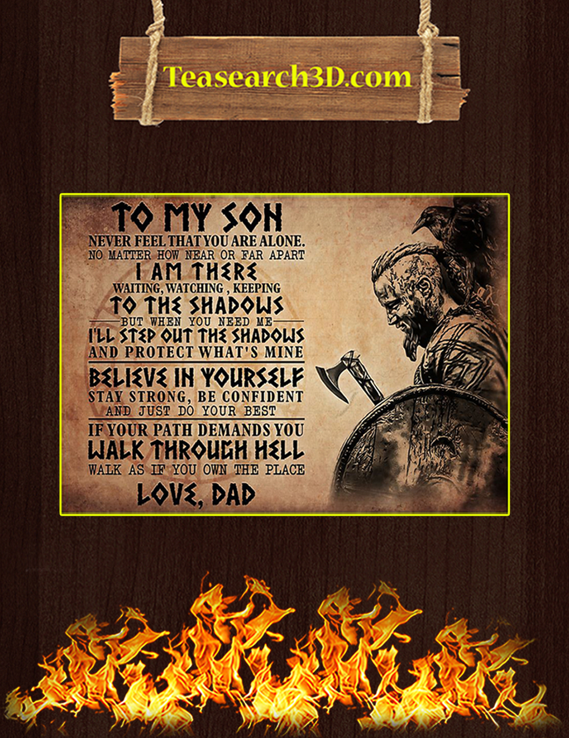 Viking to my son love dad poster A3