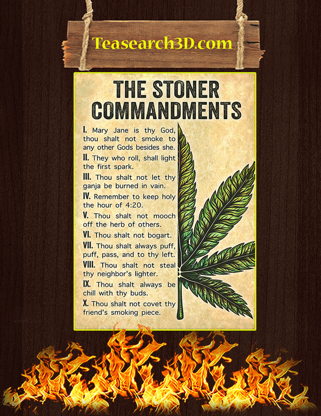 Weed cannabis the stoner commandments poster A3