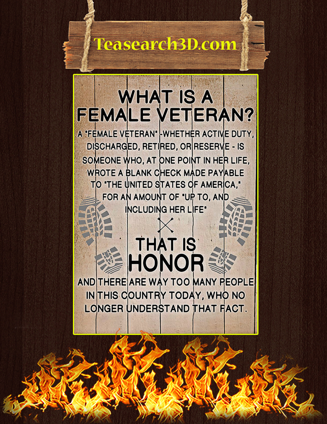 What is a female veteran poster A3
