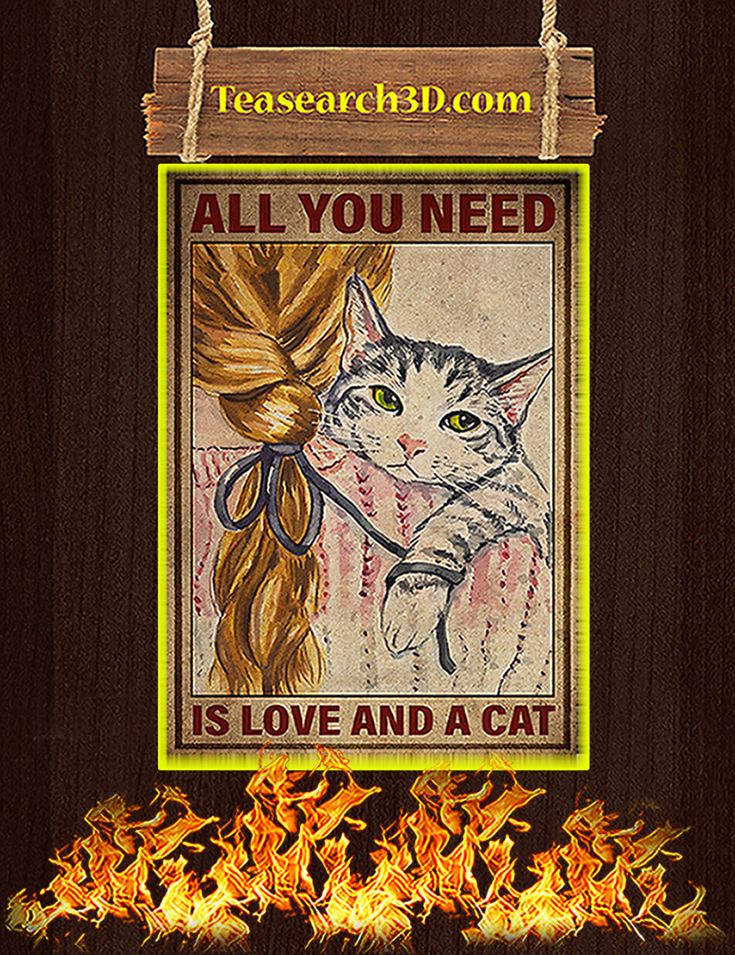 All you need is a love and a cat poster A1
