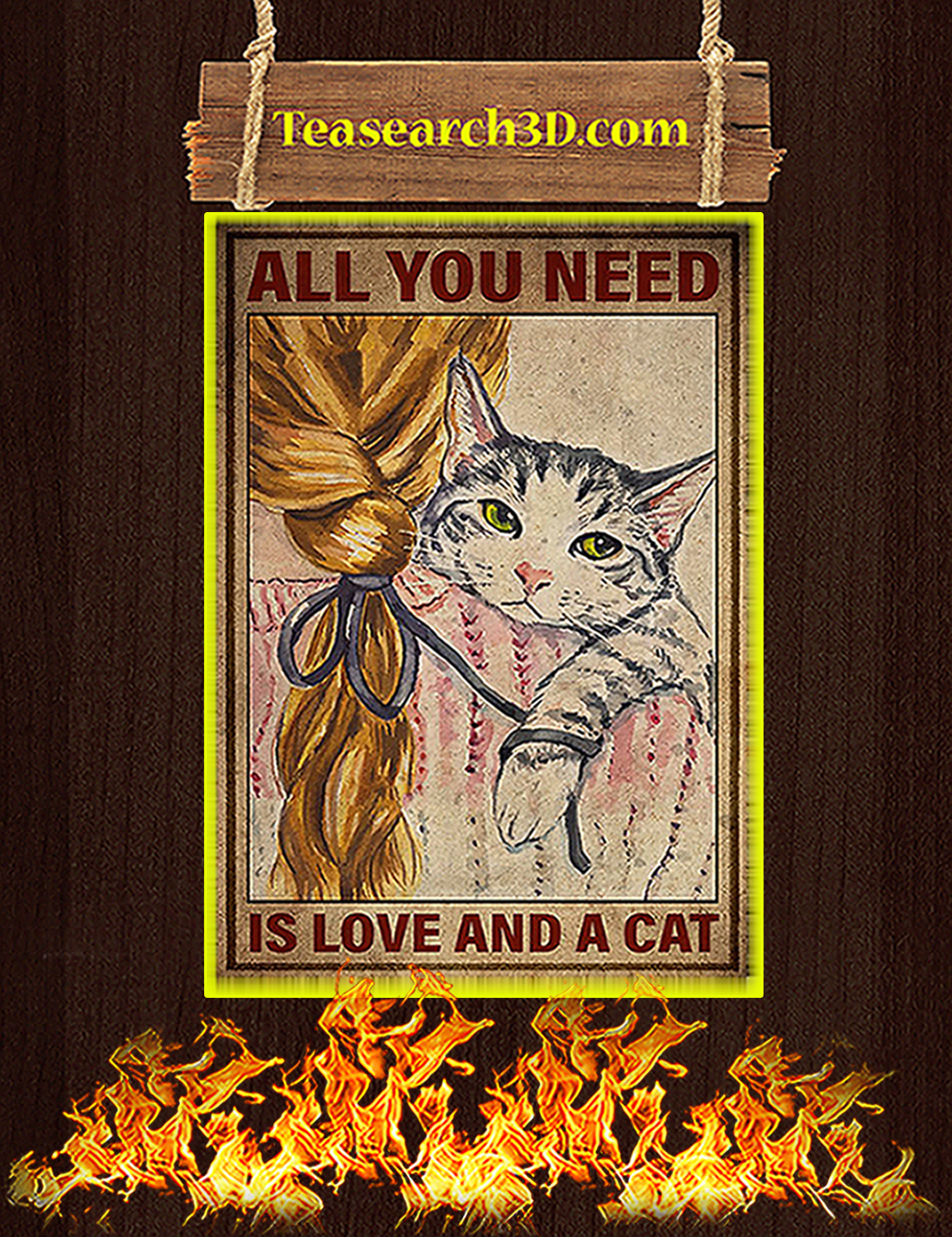 All you need is a love and a cat poster A2