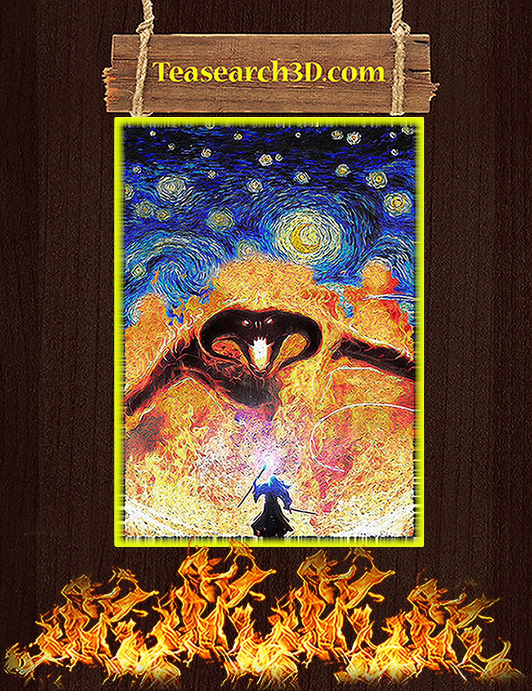 Balrog LOTR fire demon starry night poster A1