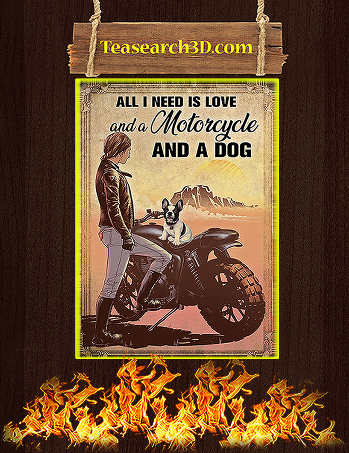 Biker All I need is love and a motorcycle and a dog poster A3