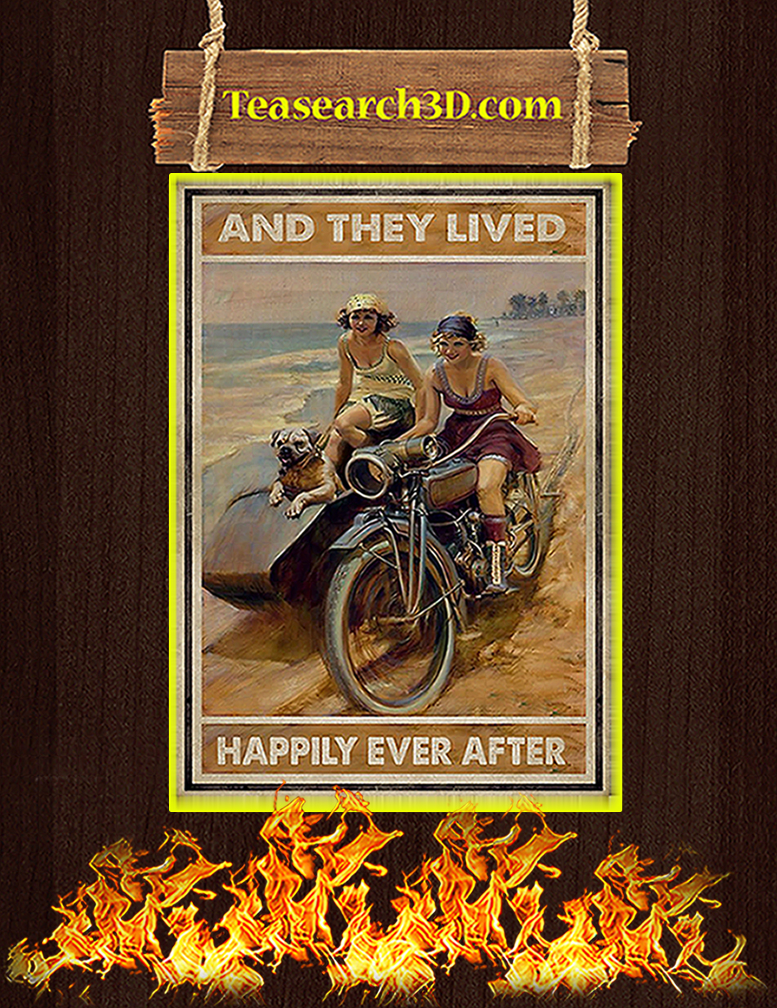 Biker And they lived happily ever after poster A2